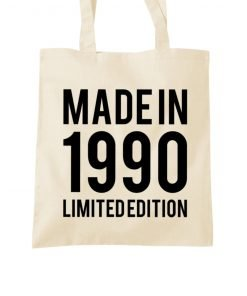 made in 1990 tote bag