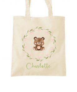 forest friends personalised tote bag product image wreath with bear