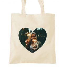 personalised heart photo tote bag