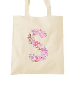 Flower Alphabet Initial Tote Bag Product Image Letter S